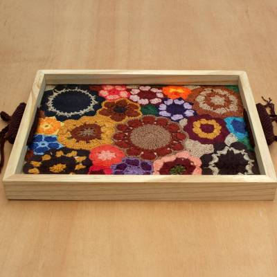 Cotton and wood tray, 'Great Bouquet' - Colorful Floral Crocheted Cotton and Wood Tray from Brazil