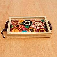 Cotton and wood tray, 'Cute Bouquet' - Crocheted Cotton and Wood Floral Tray from Brazil