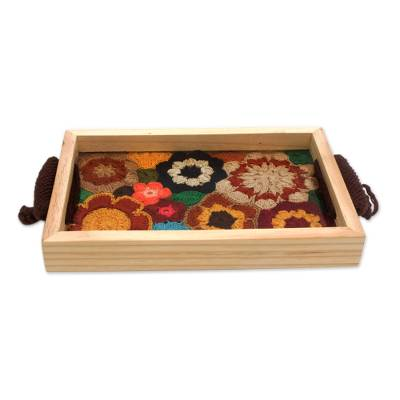 Crocheted Cotton and Wood Floral Tray from Brazil