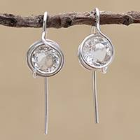 Quartz drop earrings,