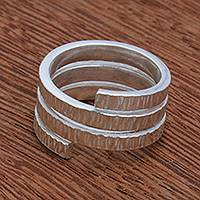 Sterling silver band ring, 'Spiral Texture' - Textured Sterling Silver Band Ring from Brazil