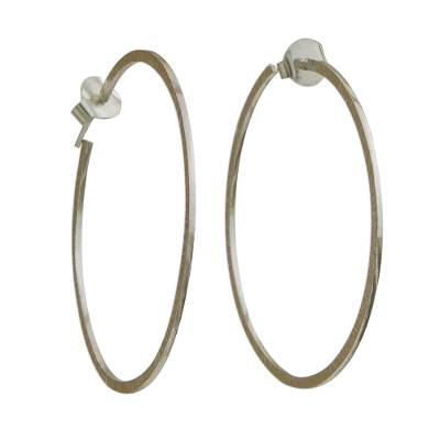Combination Finish Sterling Silver Half-Hoop Earrings