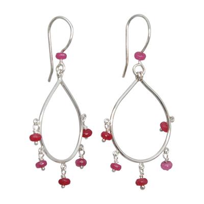 Agate Chandelier Earrings in Pink from Brazil