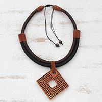 Ceramic pendant necklace, 'Beautiful Labyrinth' - Adjustable Square Ceramic Pendant Necklace from Brazil