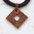 Ceramic pendant necklace, 'Beautiful Labyrinth' - Adjustable Square Ceramic Pendant Necklace from Brazil (image 2b) thumbail