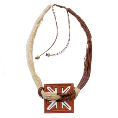 Square Ceramic and Natural Fiber Pendant Necklace