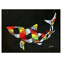 Print, 'Shark in Color' (limited edition) - Limited Edition Surrealist Shark Print from Brazil