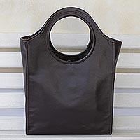 Leather handle handbag,