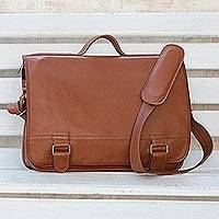 Leather laptop bag, 'Universal in Spice' (double) - Spice Brown Leather Laptop Bag from Brazil (Double)
