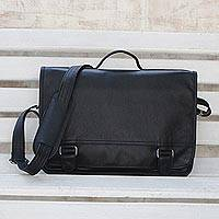 Leather laptop bag, 'Universal in Black' (double) - Black Leather Laptop Bag from Brazil (Double)