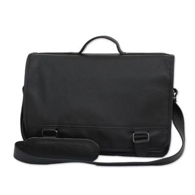 Black Leather Laptop Bag from Brazil (Double)