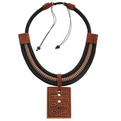 Rectangular Ceramic Pendant Necklace from Brazil