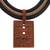 Ceramic pendant necklace, 'Rectangular Labyrinth' - Rectangular Ceramic Pendant Necklace from Brazil (image 2e) thumbail