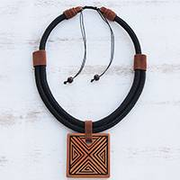 Ceramic pendant necklace, 'Triangle Labyrinth' - Triangle Pattern Ceramic Pendant Necklace from Brazil