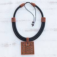 Ceramic pendant necklace, 'Labyrinth Squares' - Labyrinth Motif Ceramic Pendant Necklace from Brazil