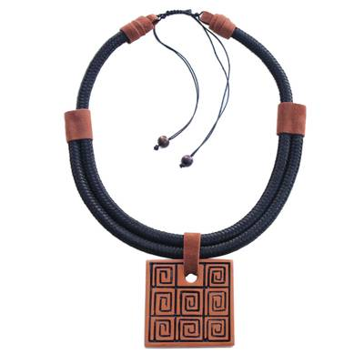 Labyrinth Motif Ceramic Pendant Necklace from Brazil