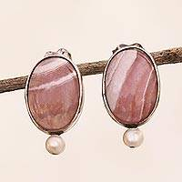 Rhodochrosite and cultured pearl drop earrings, 'Pink Ovals' - Rhodochrosite and Cultured Pearl Drop Earrings from Brazil