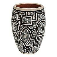 Ceramic decorative vase, 'Macapa Lines' (8.5 inch) - Marajoara Ceramic Decorative Vase from Brazil (8.5 in.)