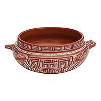 Ceramic decorative bowl, 'Turtle Vessel' - Marajoara Ceramic Turtle Decorative Bowl from Brazil