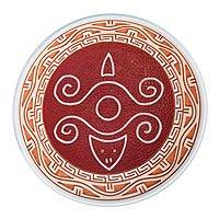 Ceramic decorative bowl, 'Turtle Glyph in Red' - Turtle Motif Ceramic Decorative Bowl in Red from Brazil
