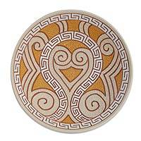 Ceramic decorative bowl, 'Marajoara Curls' (12.5 inch) - Curl Motif Ceramic Decorative Bowl from Brazil (12.5 in.)