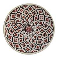 Ceramic decorative bowl, 'Marajoara Web' - Marajoara-Inspired Ceramic Decorative Bowl from Brazil