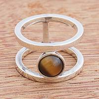 Tiger's eye band ring, 'Parallel Orbit' - Modern Tiger's Eye Band Ring from Brazil