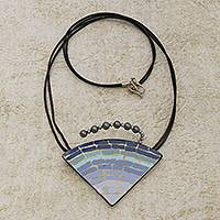 Ceramic pendant necklace, 'Ombre Mosaic' - Dynamic Triangular Blue Glass Mosaic Pendant Necklace