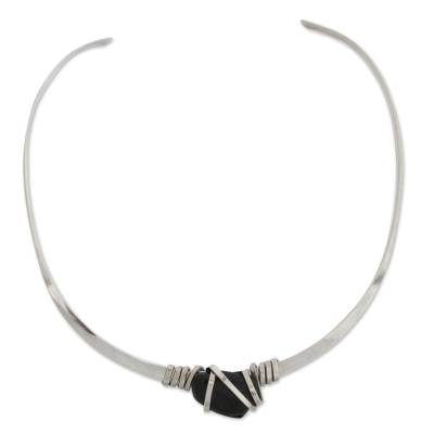 Modern Obsidian Collar Necklace from Brazil