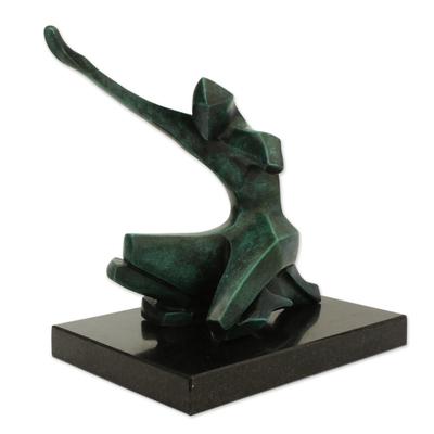 Fine Art Bronze Sculpture of a Figure Kneeling from Brazil