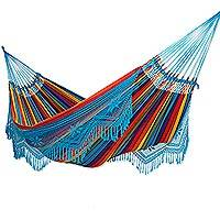 Cotton hammock, 'Artisanal Rainbow' (double) - Multicolored Handwoven Cotton Hammock from Brazil (Double)