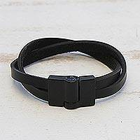 Men's leather wristband bracelet, 'Determination in Black'