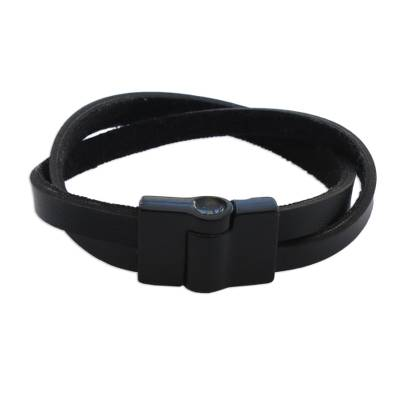 Men's leather wristband bracelet, 'Determination in Black' - Brazilian Leather Wristband Bracelet for Men