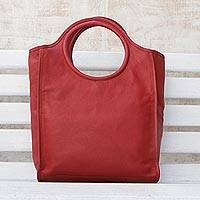 Leather handbag, 'Crimson Fashion' - Crimson Leather Handbag with Two Coin Purses from Brazil