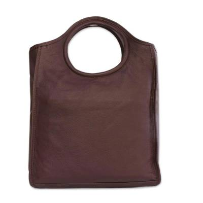 Mahogany Leather Handbag with Two Clutches from Brazil