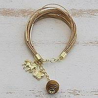 Featured review for Gold accented natural fiber strand bracelet, Horse and Butterfly