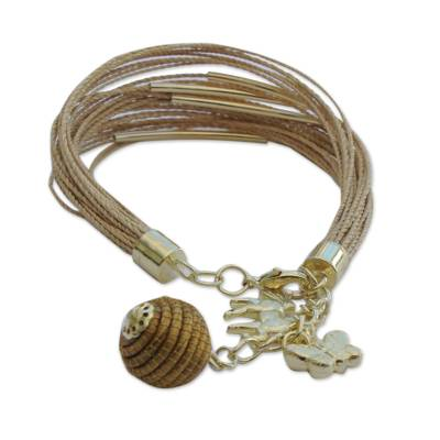 Horse and Butterfly Gold Accented Natural Fiber Bracelet