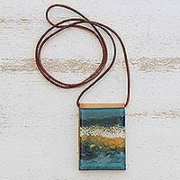Glass and leather pendant necklace, 'Large Ocean' - Handcrafted Glass Pendant Necklace in Blue from Brazil