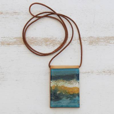 Glass and leather pendant necklace, 'Guanabara Bay' - Handcrafted Glass Pendant Necklace in Blue from Brazil