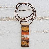 Glass and leather pendant necklace, 'Desert Layers' - Handcrafted Glass Layered Pendant Necklace from Brazil