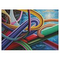 'Equilibrium' - Signed Colorful Surrealist Painting from Brazil