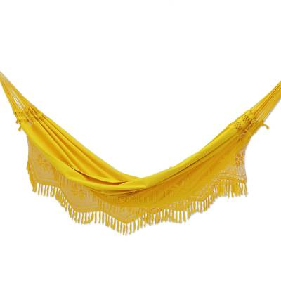 Handwoven Maize Yellow Cotton Hammock from Brazil (Double)