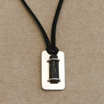 Tourmaline pendant necklace, 'Midnight Glacier' - Black Tourmaline and Sterling Silver Pendant Necklace