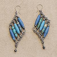 Recycled paper and hematite dangle earrings, 'Tribal Links in Blue' - Recycled Paper and Hematite Dangle Earrings in Blue