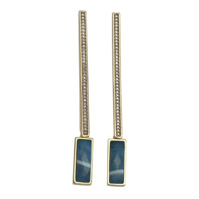18k Gold Plated Blue Agate Dangle Earrings from Brazil