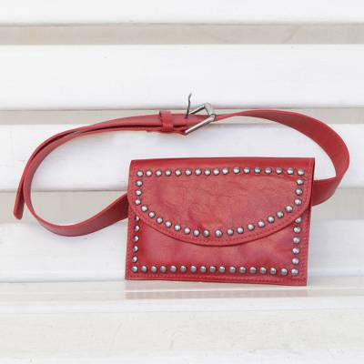 Leather waist bag, 'Studded Claret' - Handcrafted Leather Waist Bag in Claret from Brazil