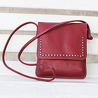 Leather sling, 'Modern Essentials in Red' - Crimson Red Leather Brass Accent Rectangular Sling