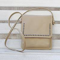Leather shoulder bag, 'Modern Essentials in Beige' - Sand Beige Leather Brass Accent Rectangular Sling