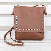 Leather sling, 'Modern Essentials in Chestnut' - Chestnut Brown Leather Brass Accent Rectangular Shoulder Bag