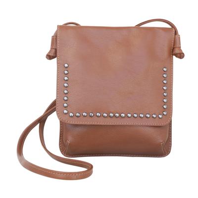 Chestnut Brown Leather Brass Accent Rectangular Shoulder Bag